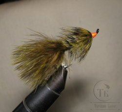Муха Streamer Leech ( 5 ) Olive Fl. Orange Head Salmon № 6