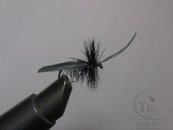 "Муха сухая Dry fly ( 23 ) "" Quill Wing Caddis Black ""крючок № 12 ( Kumho )"