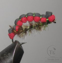 Муха Foam ( 11 ) Caterpillar Red Black кр. № 12