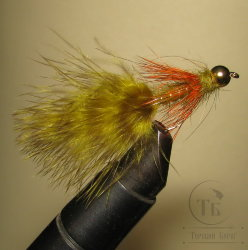 Муха Streamer Leech ( 16 ) Nymph Var. Olive Orange Grizzly GH  кр. Nymph № 6