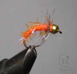 Муха нимфа Crystal Scud  ( 9 ) GH Pearl Palmer Fl. Orange   крючок scud №8