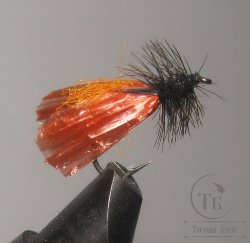 "Муха сухая Dry fly ( 20 ) "" Orange Raffia Caddis  "" крючок № 10 ( Kumho )"