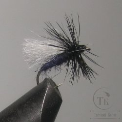 "Муха сухая Dry fly ( 1 ) "" Poly Pro Black White Caddis  "" крючок № 14 ( Kumho )"