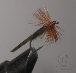 "Муха сухая Dry fly ( 4 ) "" Long Brown Olive Caddis  "" крючок № 12 ( Kumho )"