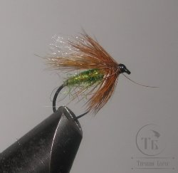 "Муха сухая Dry fly ( 18 ) "" Poly Pro Green Brown Caddis  "" крючок № 12 TMC ( безбородый )"