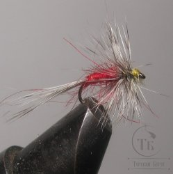 "Муха сухая Dry fly ( 3 ) "" Dry Fly Body Red  "" крючок № 16 ( Kumho )"