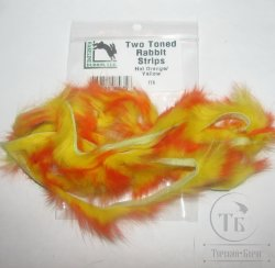 Зонкер кролика two tonned rabbit strips  hot orange / yellow  Hareline