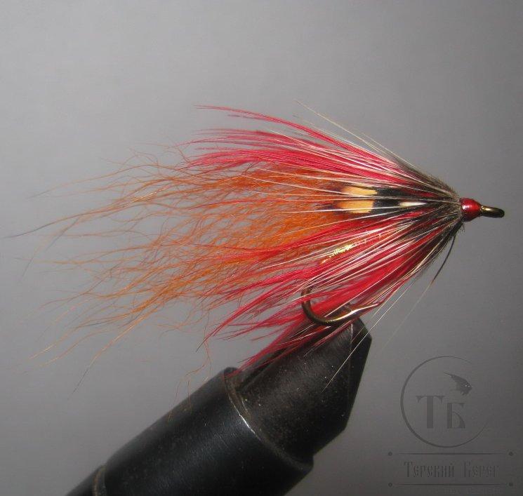 Муха лососёвая на двойнике Spey ( 5 ) Scarlet   Kamasan №8 B270 br.