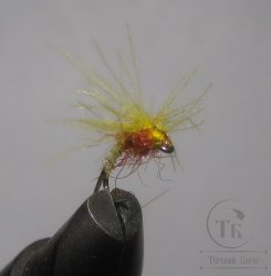 Муха сухая V Wings ( 9 ) Pale Yellow CDC nymph Kumho №14