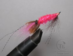 Муха Streamer Shrimp SSH 03 Pink Pearl  крючок Salmon Black №6