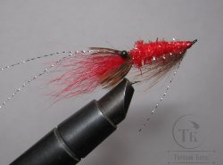 Муха Streamer Shrimp SSH 04 Red Pearl  крючок Salmon Black №6
