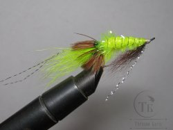 Муха Streamer Shrimp SSH 05 Chart. Pearl  крючок Salmon Black №6