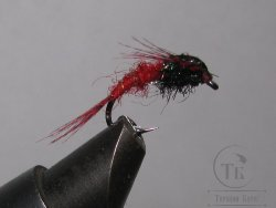 Муха нимфа Teal Tail ( 13 ) Black Red Nymph крючок scud  № 10