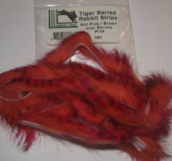Зонкер кролика two tonned rabbit strips hot pink / brown over shrimp pink Hareline