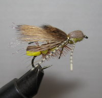 Муха Кузнечик ( 16 ) Hopper Brown Yellow Barred Legs кр. Strim. № 6